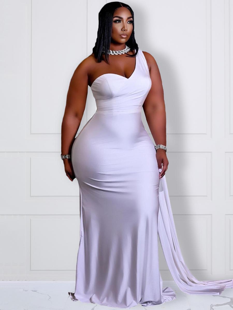 LW BASICS Plus Size Elegant One Shoulder White Floor Length Dress