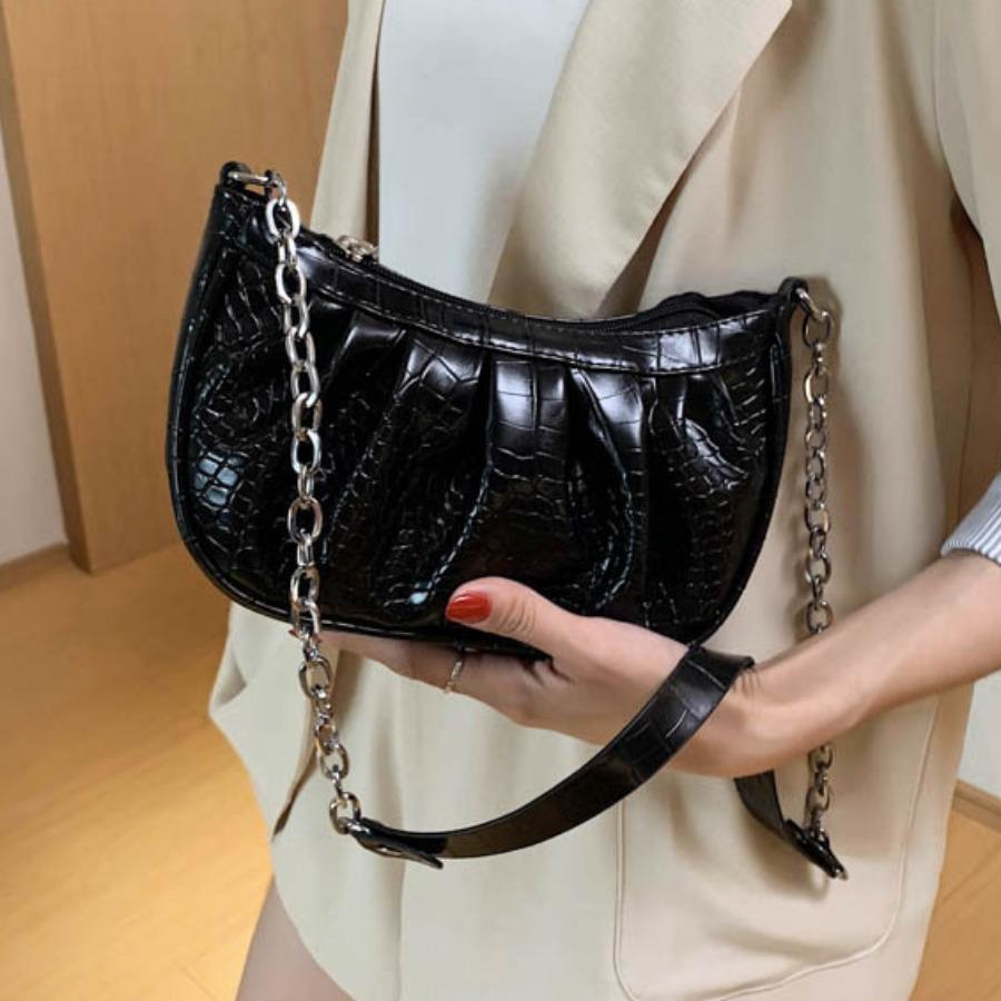 LW Casual Fold Design Black Crossbody Bag