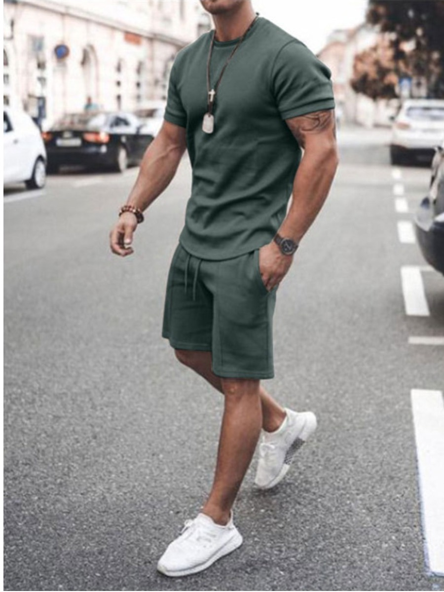Lovelywholesale coupon: Lovely Men Casual Round Neck Drawstring Green Two Piece Shorts Set