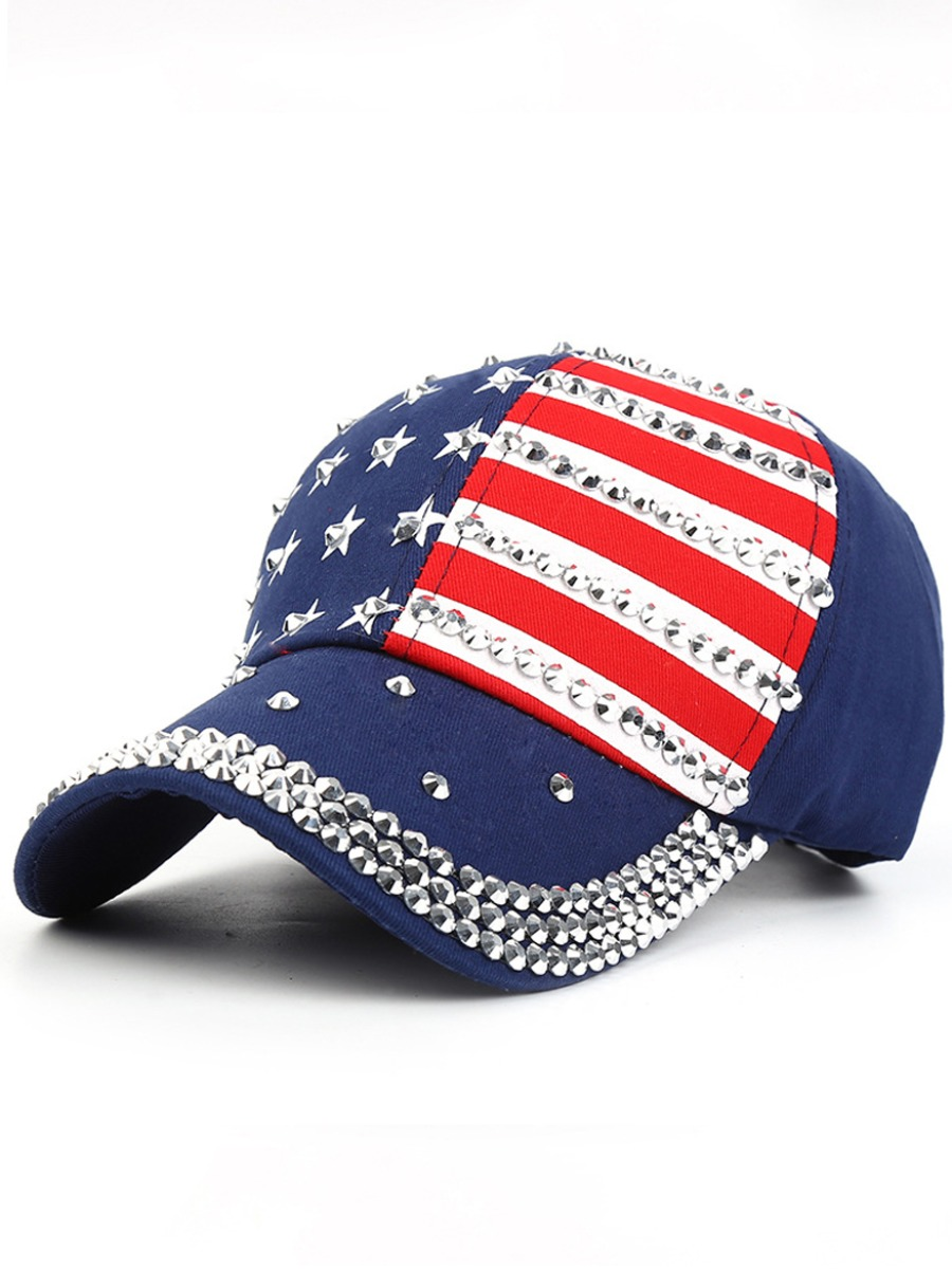 LW Men Casual American Flag Independence Day Blue Hat