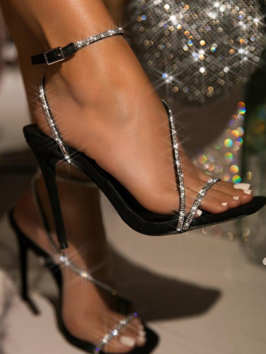 LW SXY Sequined Strap Black Heels