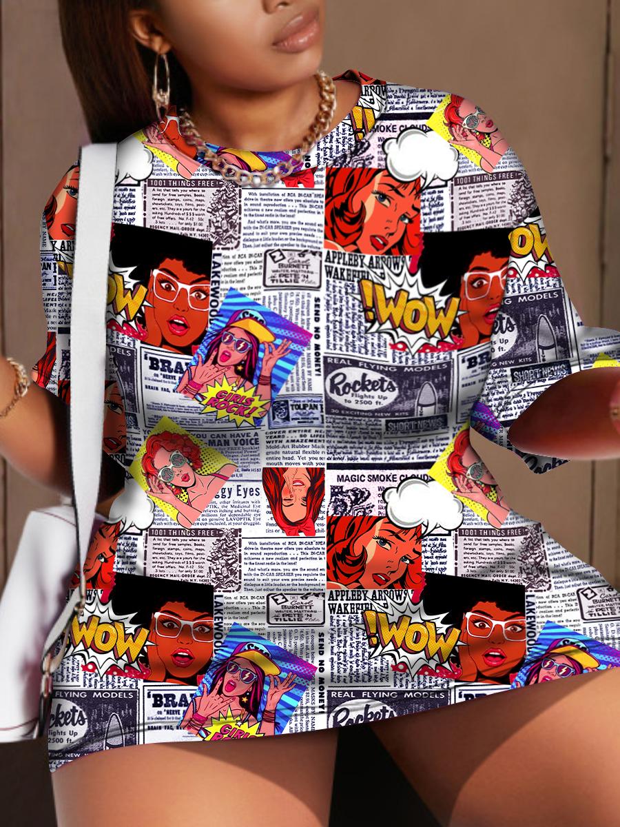 LW BASICS Plus Size Figure Letter Print Dress