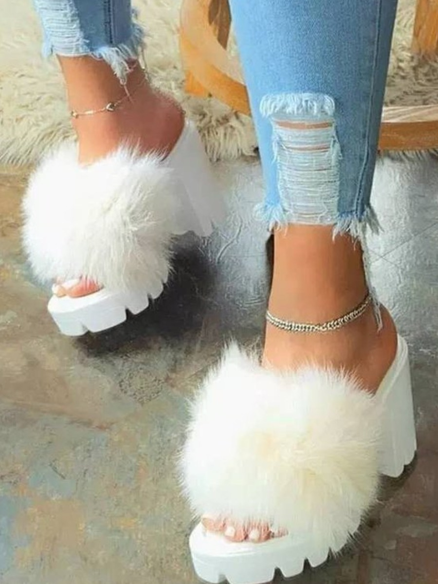 Lovely Casual Fluffy White Pumps