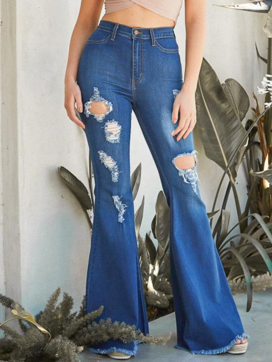 LW Casual Ripped Flared Raw Edge Deep Blue Jeans