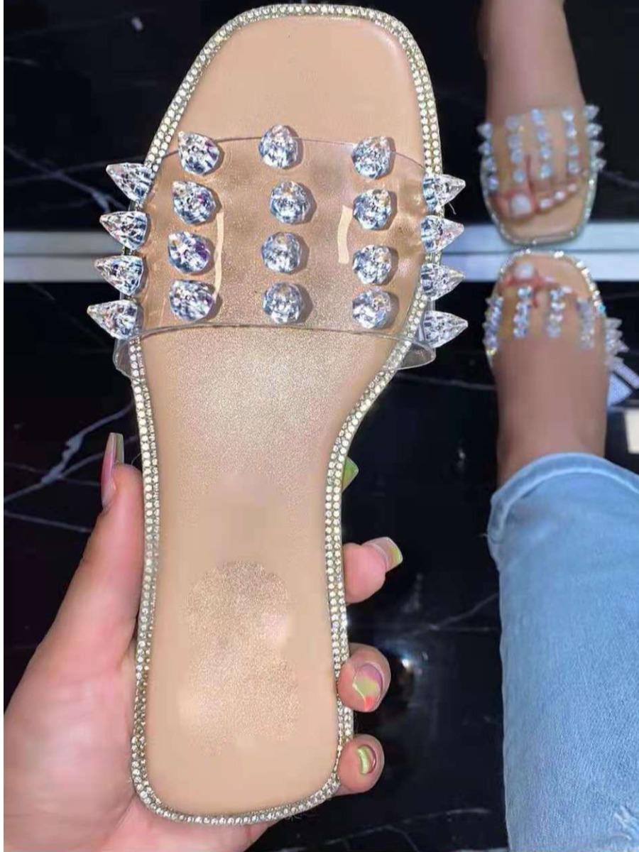 Lovely Crystal Decoration See-through Slippers