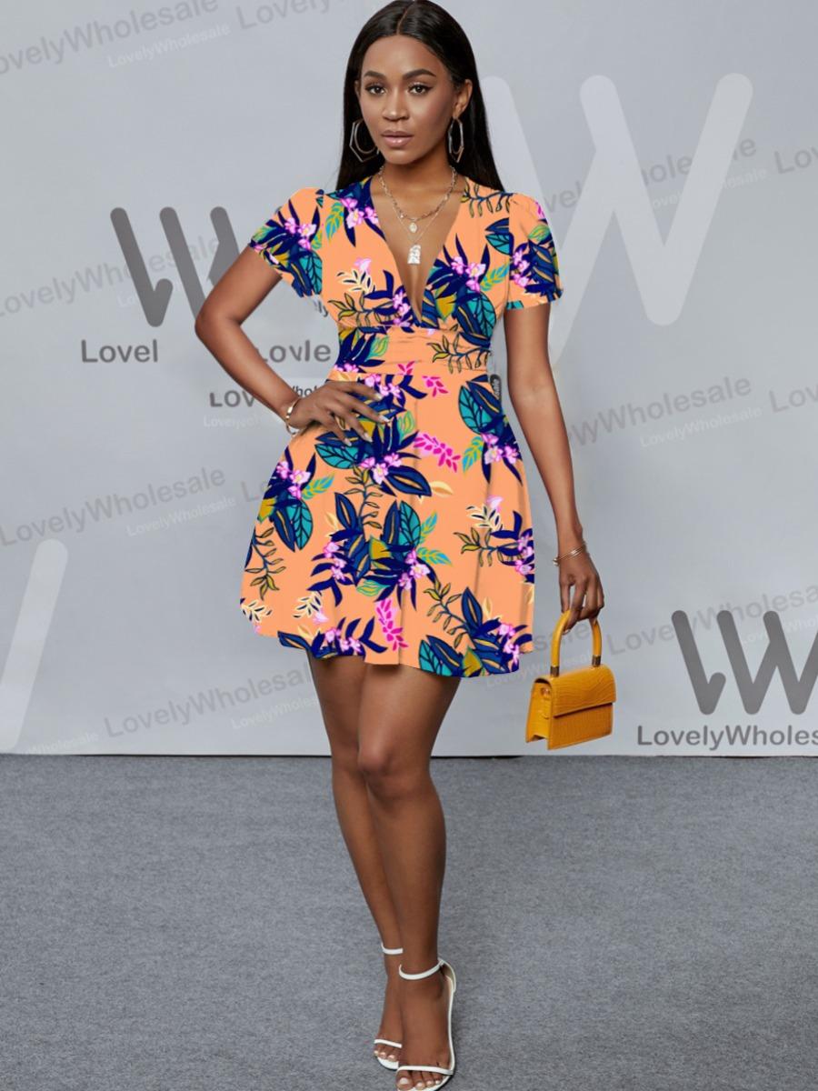 Lovely Floral Print Flounce Design A Line Dress