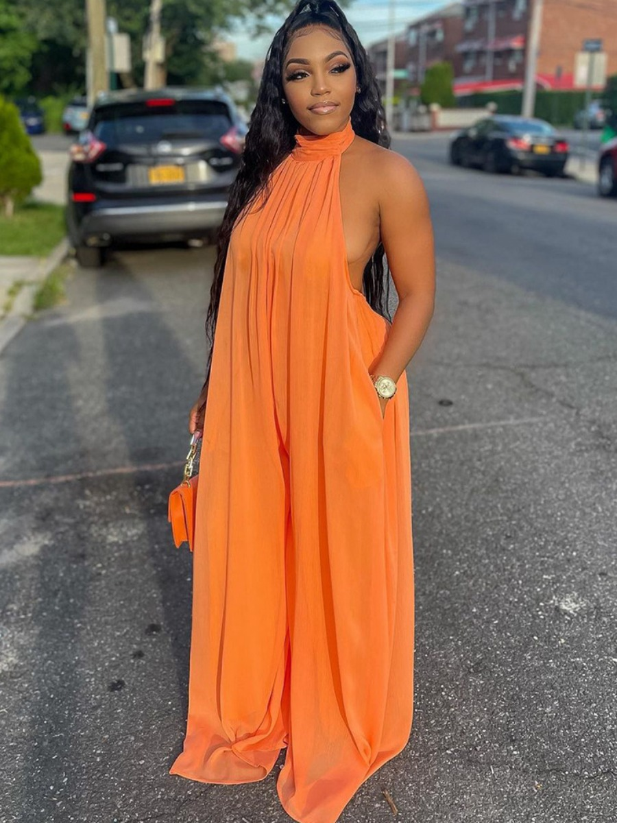 Lovely Wide Fit Backless One-piece Jumpsuit