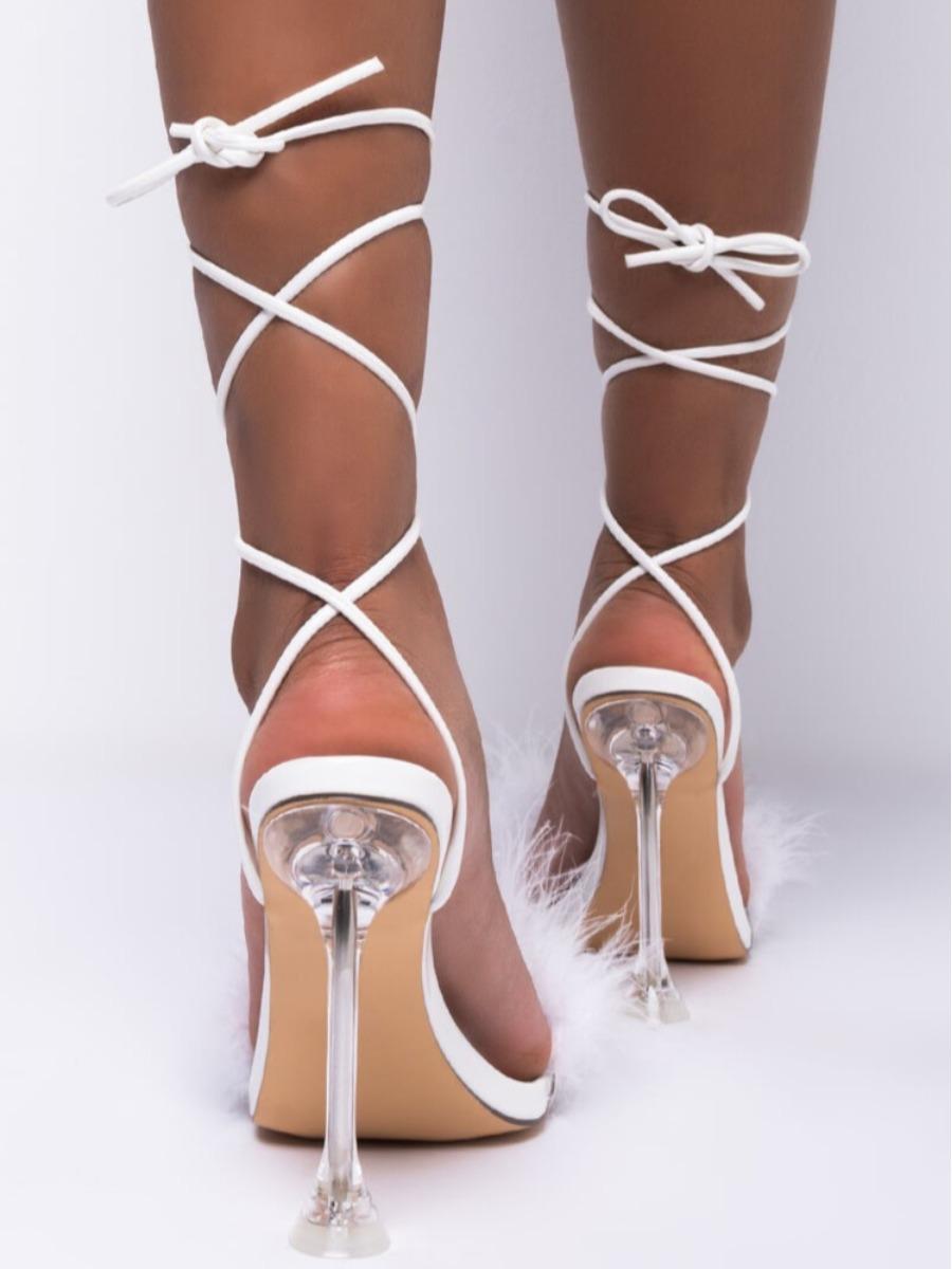 LW SXY Tie Leg Fluffy Heels