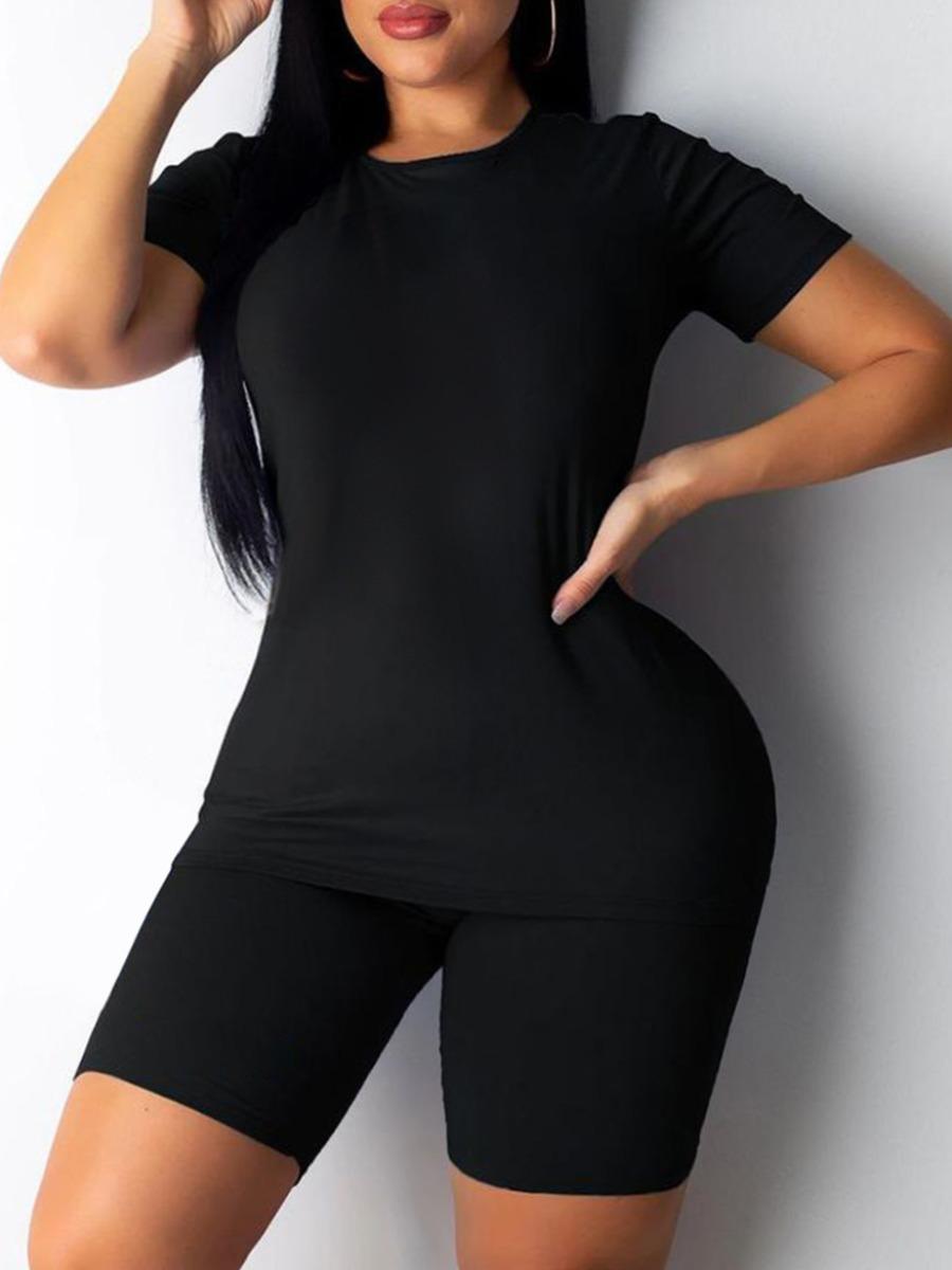LW BASIC Plus Size Round Neck Elastic Two-piece Shorts Set