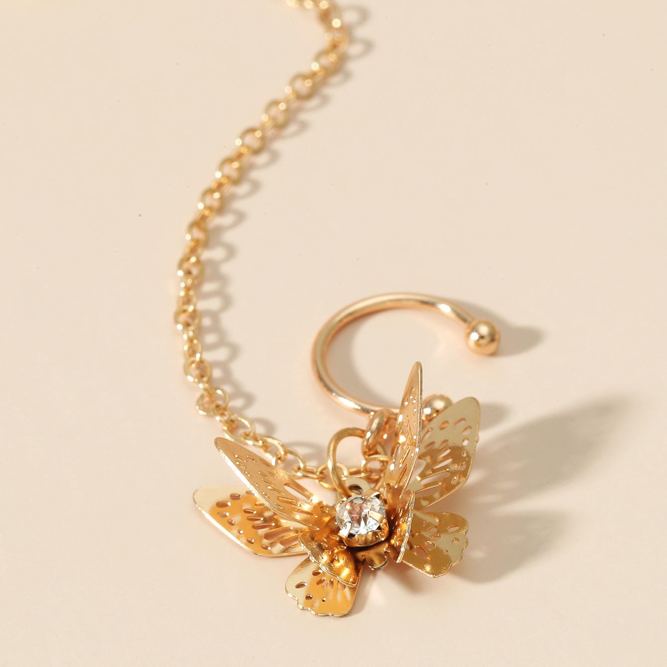 Lovely Street Butterfly Decoration Gold Earring