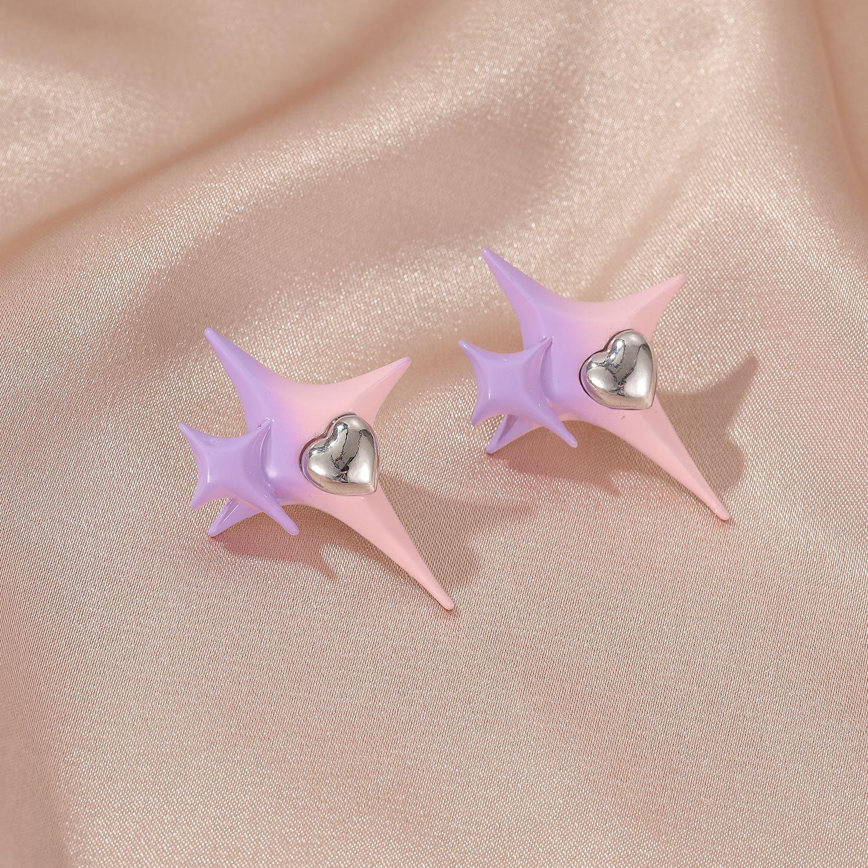 Lovely Street Star Decoration Purple Earring
