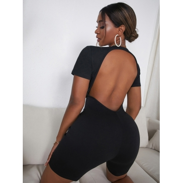 LW COTTON Material Series V Neck Backless One-piece Romper