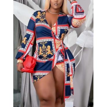 LW Plus Size Boho Geometric Print Bandage Design Blue Mini Dress