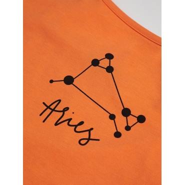 LW COTTON Aries Casual Constellation Series Letter Print Orange Camisole