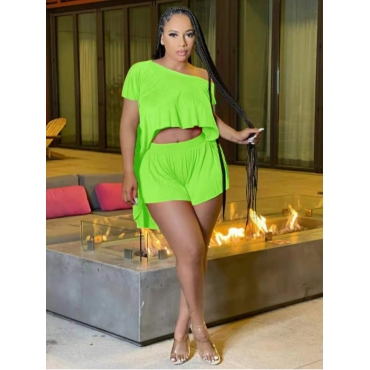 LW Casual Round Neck Asymmetrical Green Two Piece Shorts Set