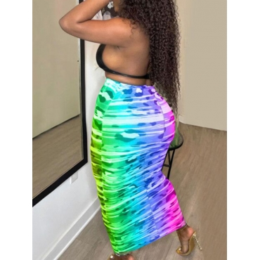 LW Plus Size Street Gradient See-through Multicolor Mid Calf Skirt