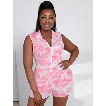LW Plus Size Casual Tie-dye Zipper Design Pink Two-piece Shorts Set