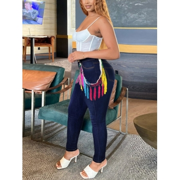 LW Plus Size Tassel Design Patchwork Jeans