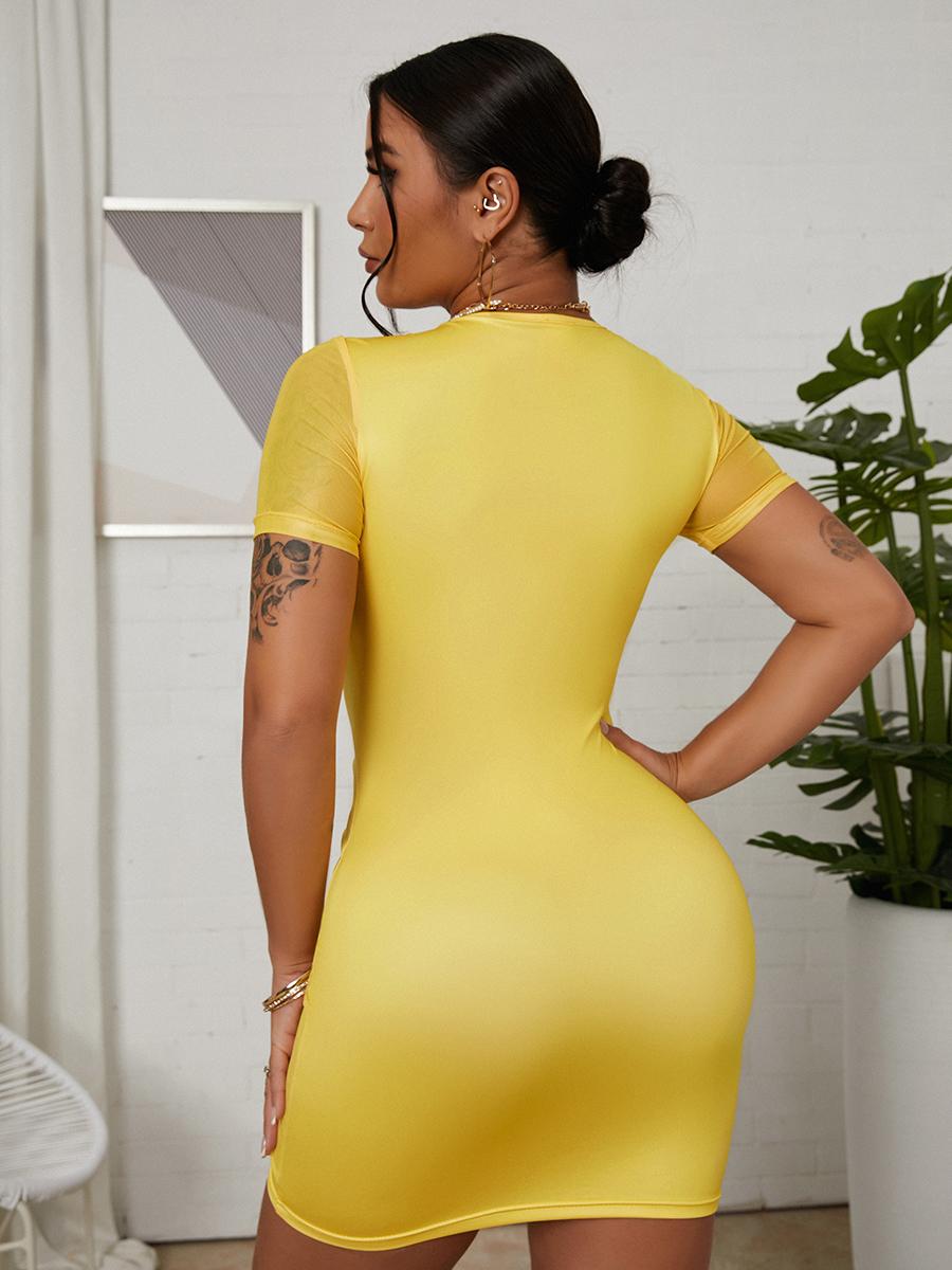 Lovely Casual V Neck Drawstring Yellow Mini Dress