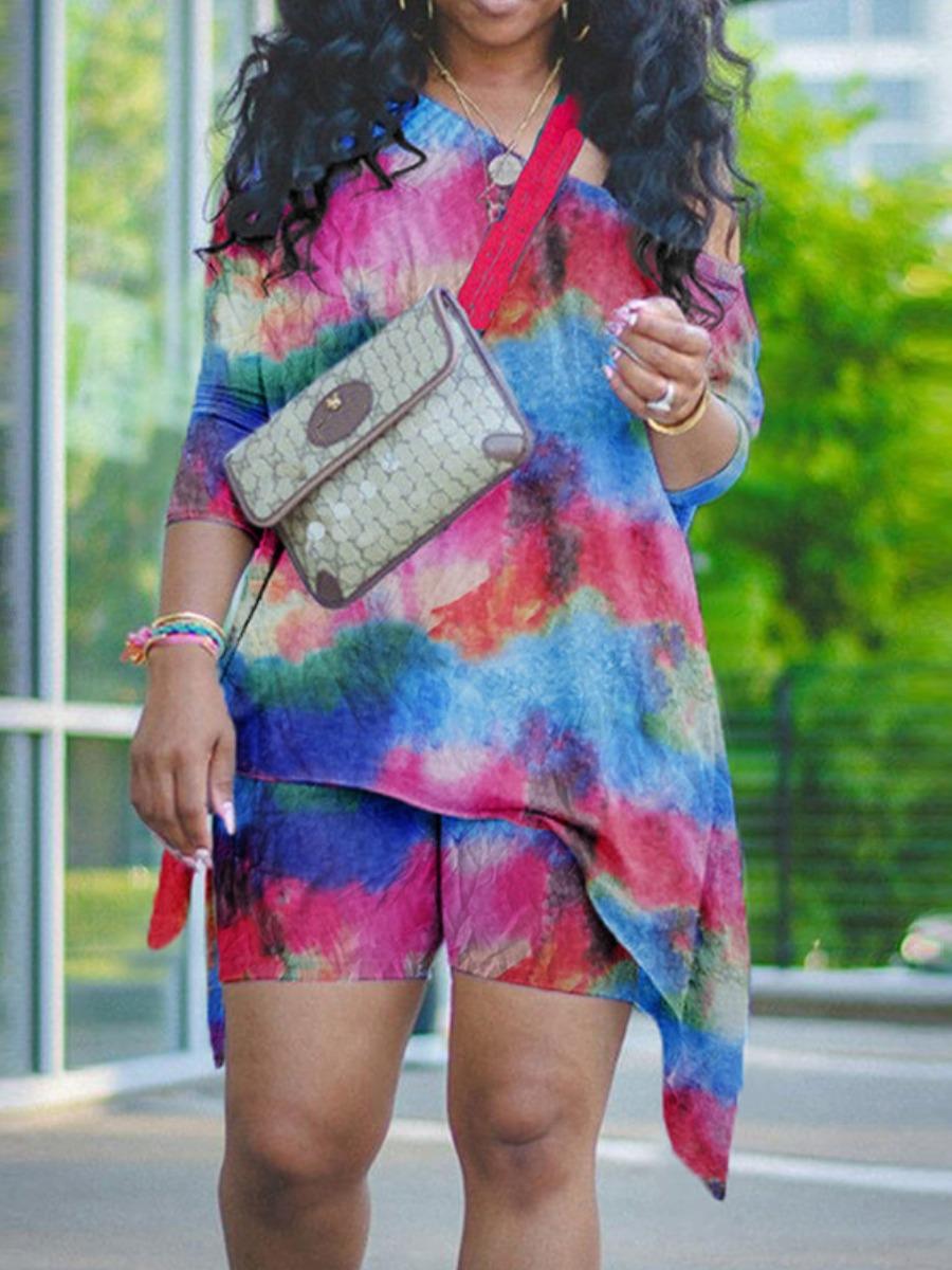LW Plus Size Tie-dye Asymmetrical Two-piece Shorts Set