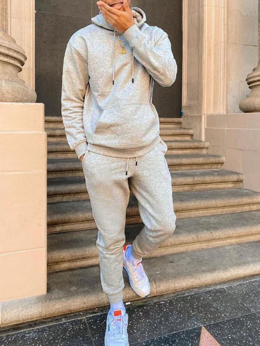 LW Men Hooded Collar Kangaroo Pocket Two Piece Pants Set