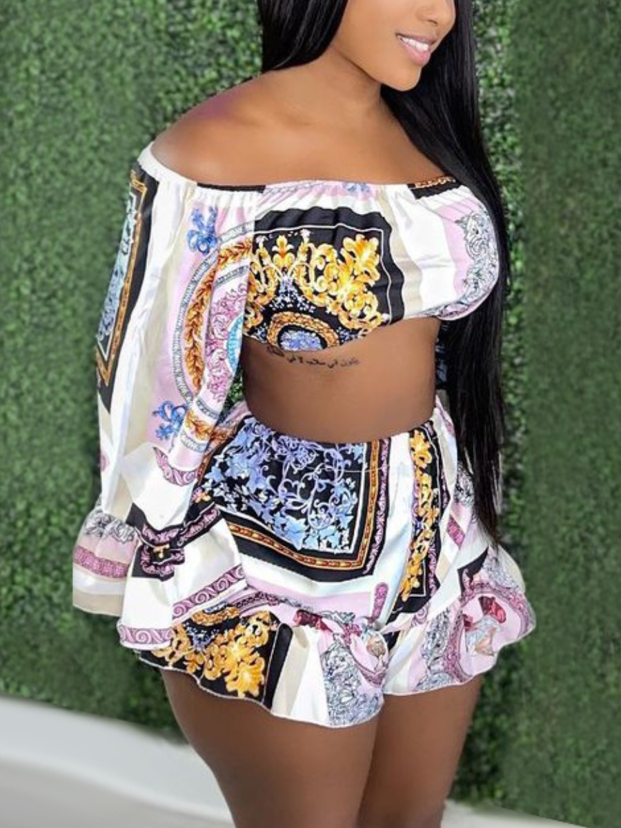 LW SXY Off The Shoulder Crop Top Two Piece Shorts Set
