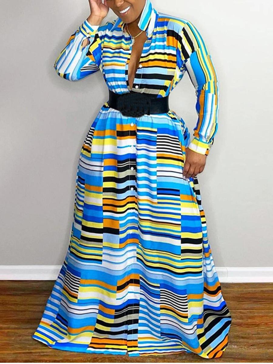 LW Striped Patchwork A Line Dress (Without Belt)
