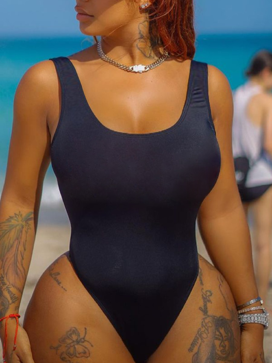 Lovely U Neck Basic Skinny One-piece Swimsuit