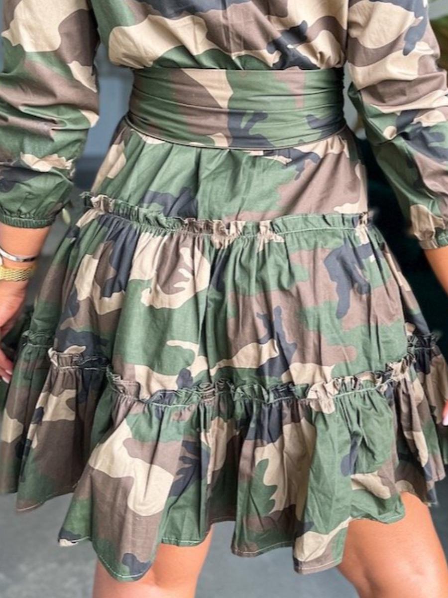 Lovely Camo Print Bandage Ruffle Design A Line Dress