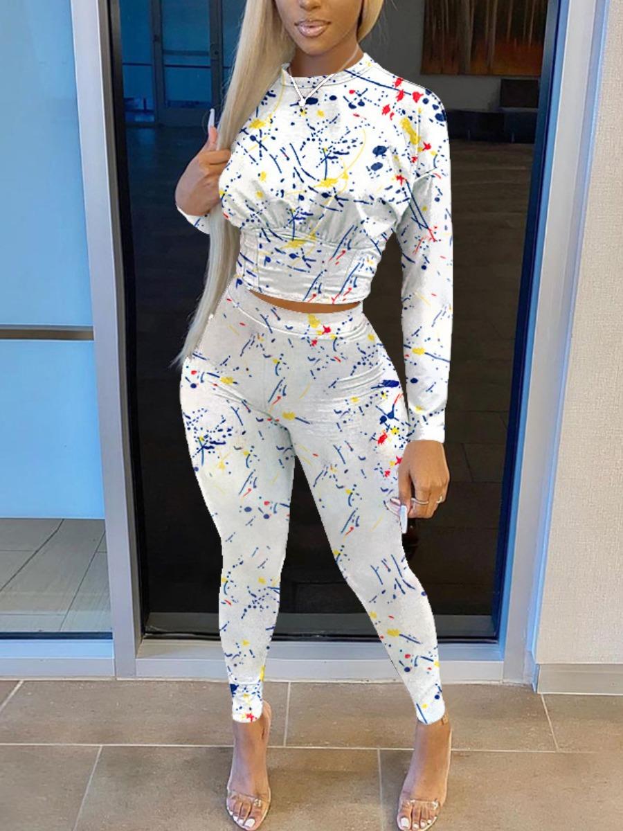 LW Round Neck Splash-ink Design Two Piece Pants Set
