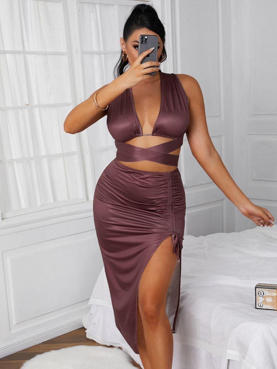 LW SXY Backless Drawstring Bandage Design Two Piece Skirt Set