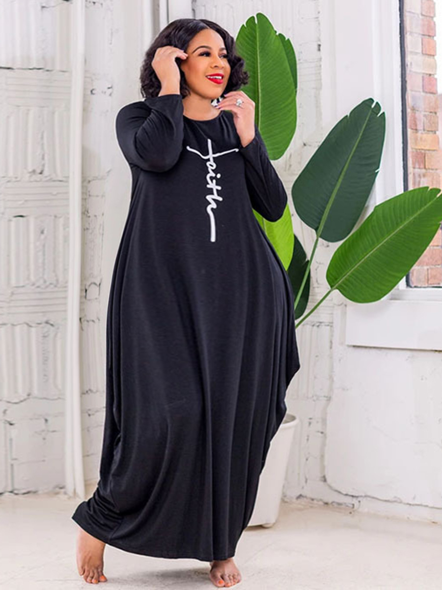Lovely Plus Size Round Neck Letter Print Dress