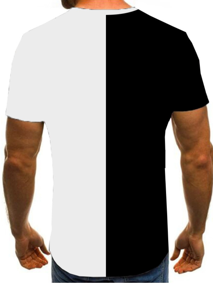 LW Men Round Neck Patchwork Oversized T-shirt