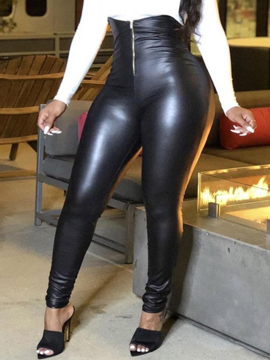 LW High-waisted Basic Skinny Leather Pants