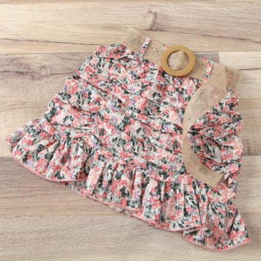 Lovely Girl Cotton Material Series Floral Print Shirred Skirt Set