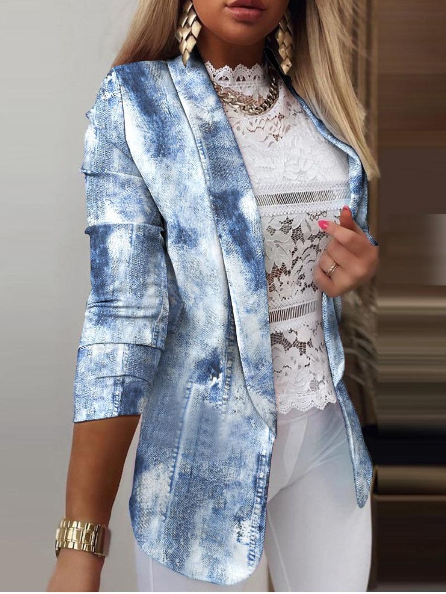Lovely Tie-dye Button Design Blazer
