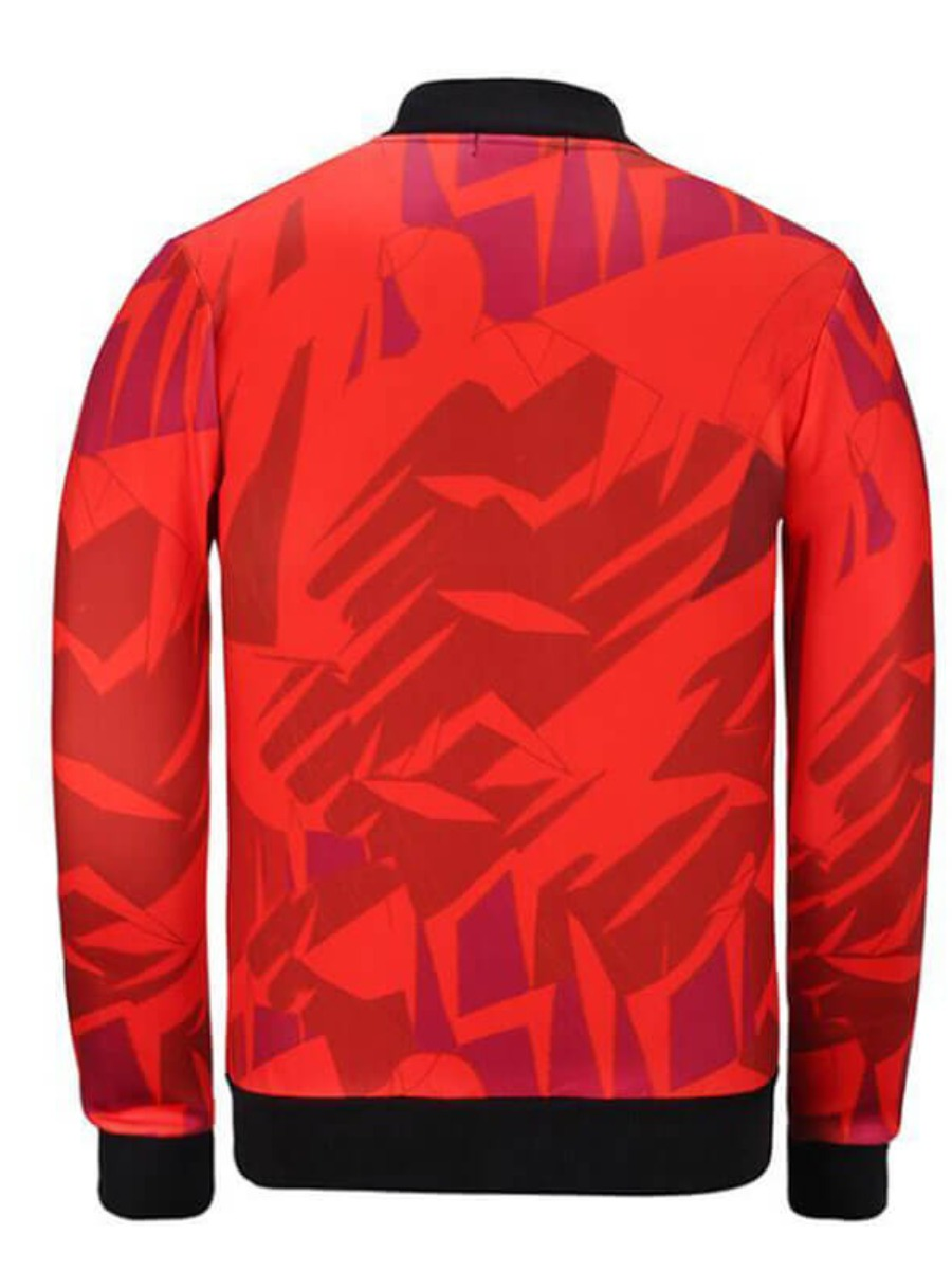 Lovely Casual Portrait Print Red Jacket