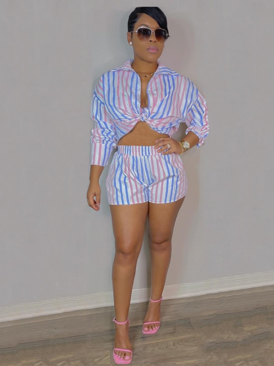 LW Turndown Collar Striped Shorts Set
