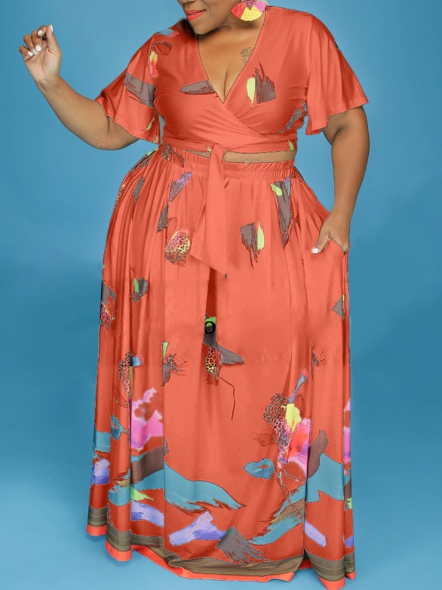 LW Plus Size Floral Print Bandage Design Skirt Set