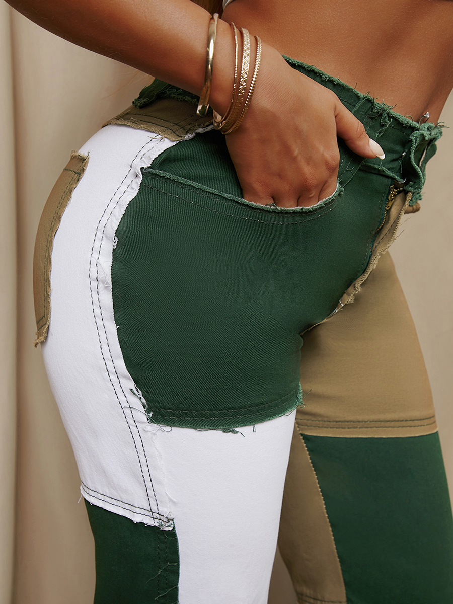 LW Men Color-lump Raw Edge Jeans