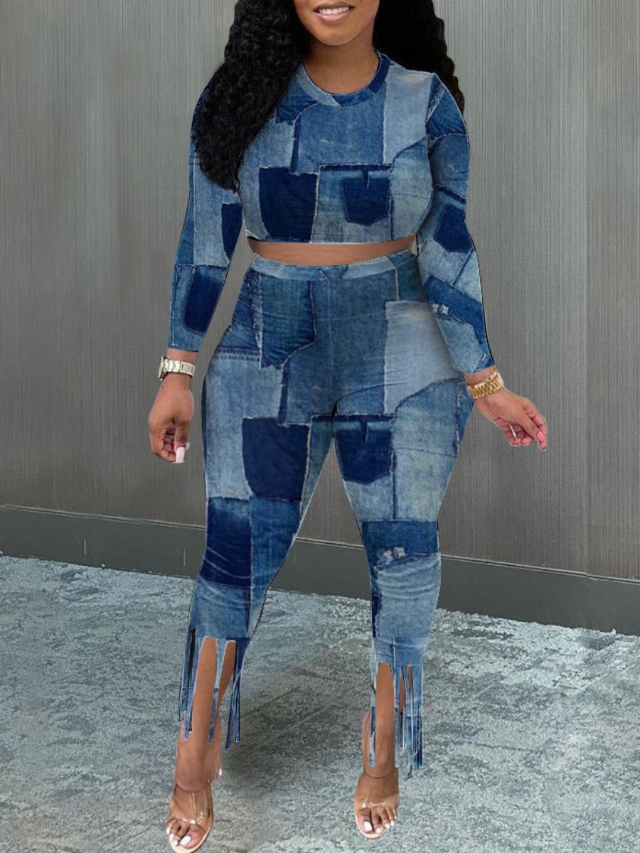 LW SXY Color-lump Tassel Design Pants Set