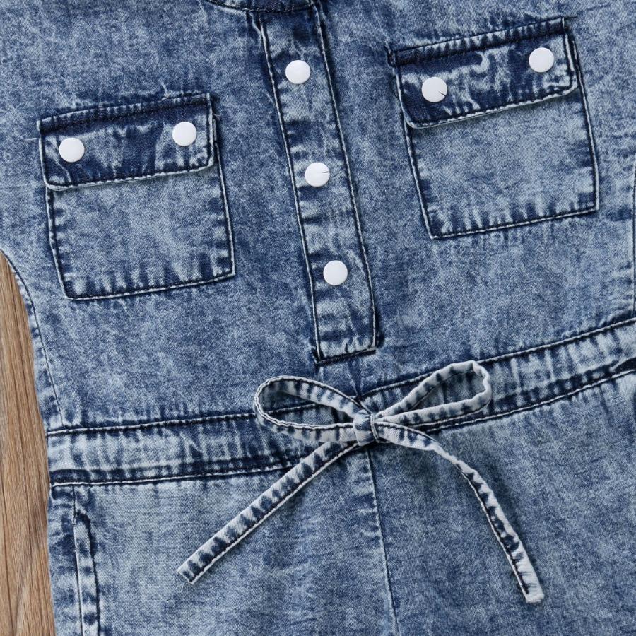 LW COTTON Girl Button Design Drawstring Jumpsuit