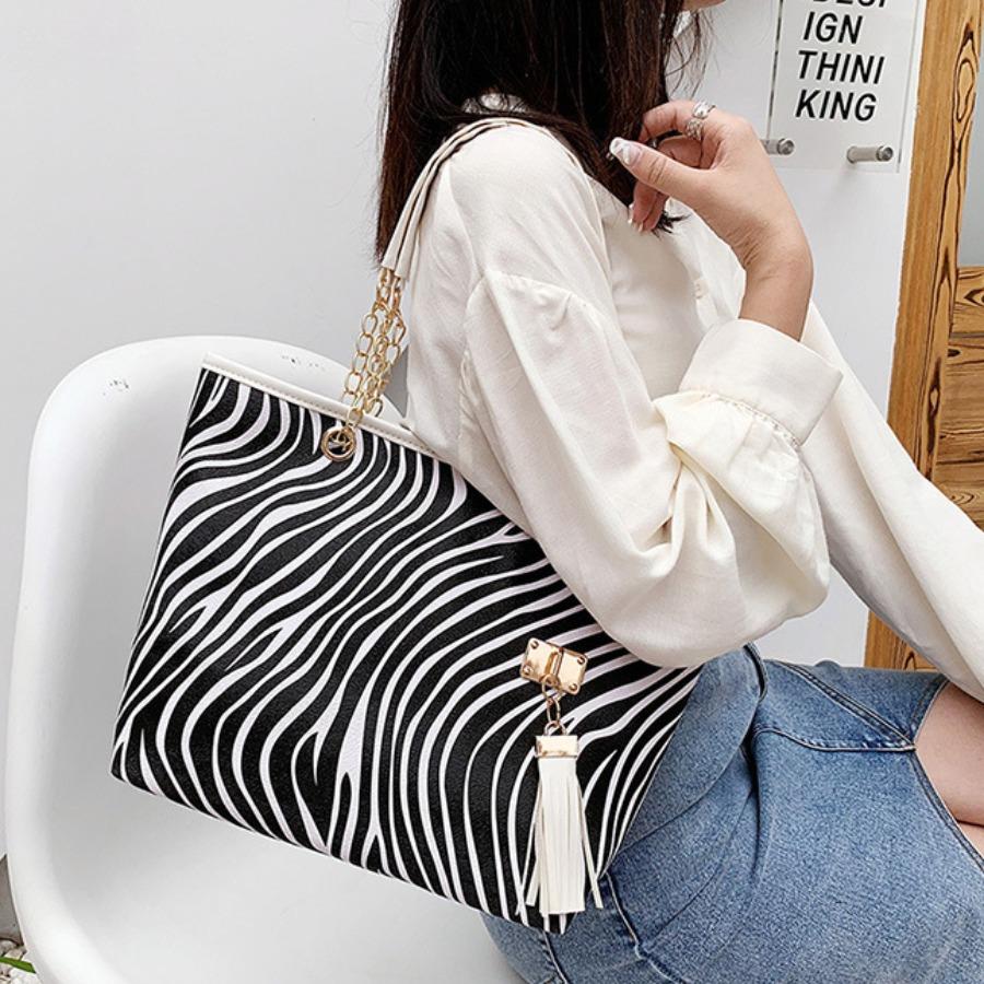 Lovely Zebra Striped Chain Decoration Messenger Bag