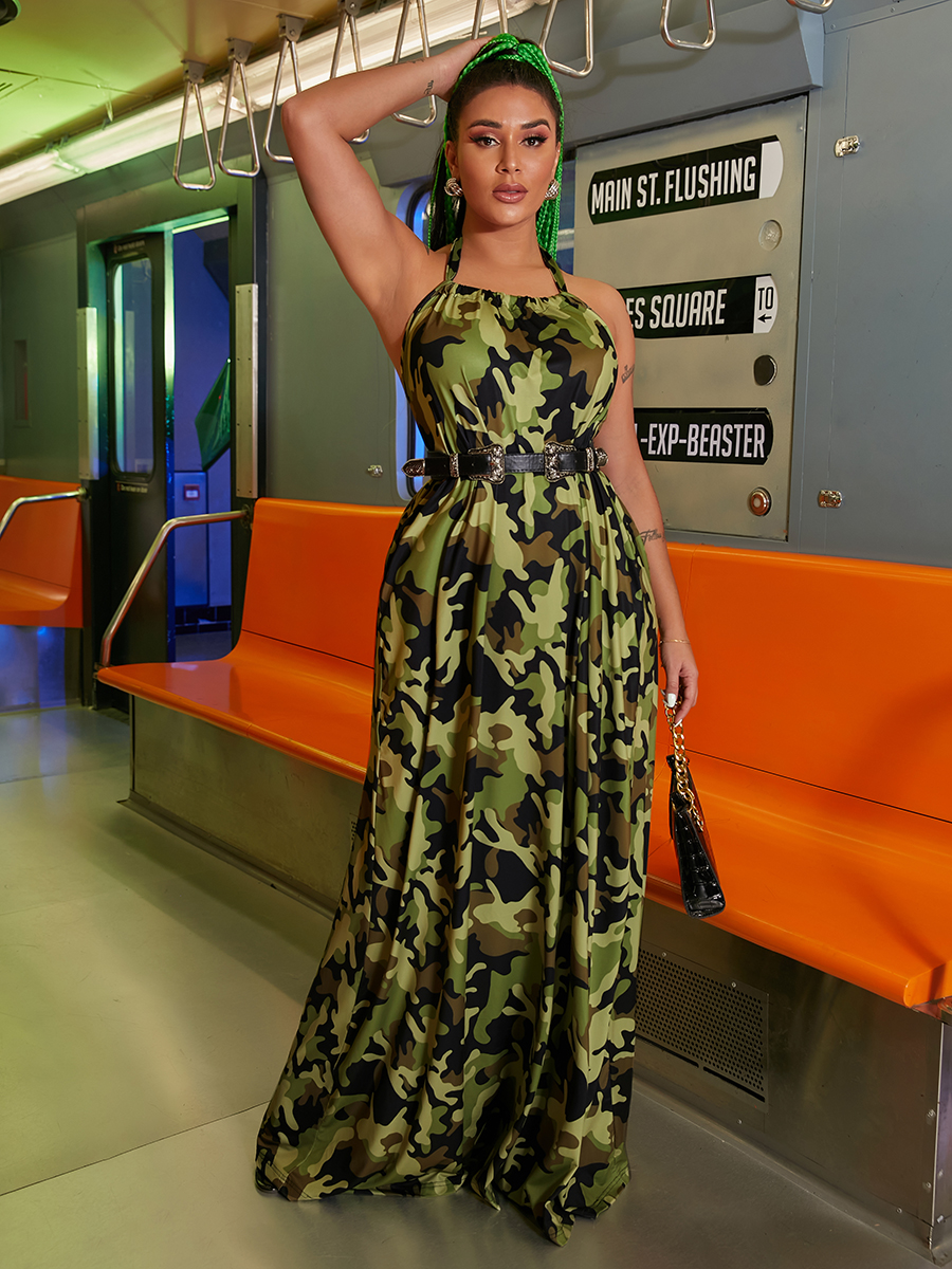 LW Camo Print Backless A Line Dress (Without Waist Belt)