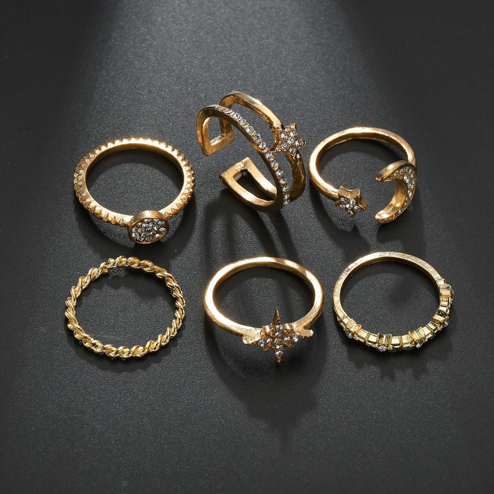 Lovely 6-piece Star Moon Decoration Ring