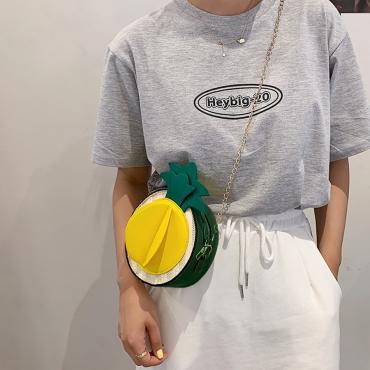LW Street Pineapple Patchwork Green Crossbody Bag