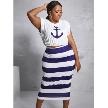 LW COTTON Plus Size Casual Round Neck Striped Deep Blue Two-piece Skirt Set