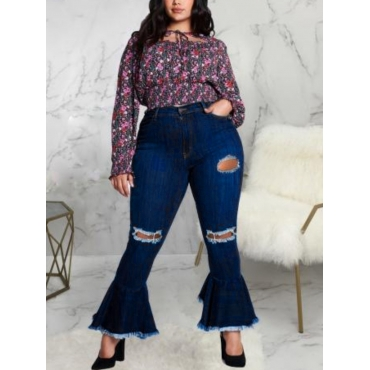 LW Plus Size Ripped Flared Raw Edge Jeans