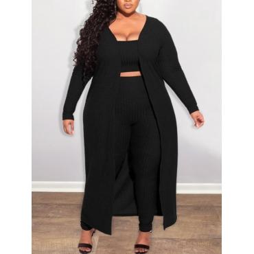 LW Plus Size Rib-Knit Elastic Three Piece Pants Set