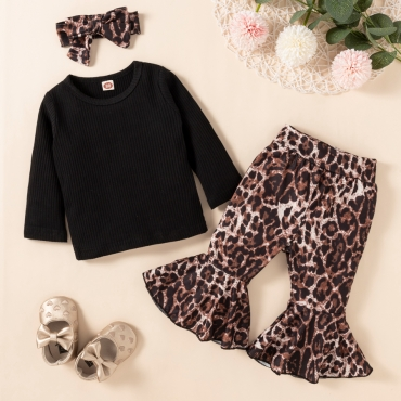 LW COTTON Girl Leopard Print Flared Two Piece Pants Set (With Headband)